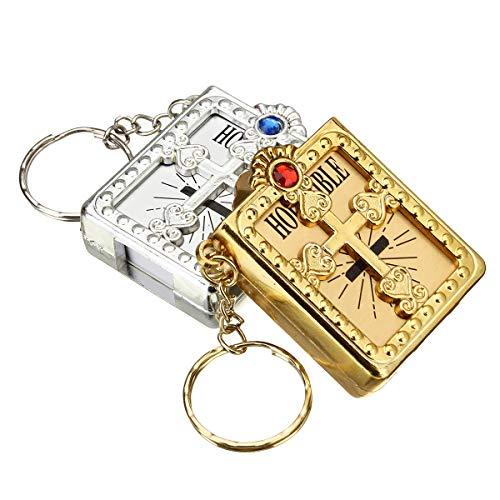 Wchaoen 12 Stücke Mini Bibeln Keychain Taufe Gefälligkeiten Recuerdos Bautizo Kommunion Schlüsselanhänger Werkzeugzubehör