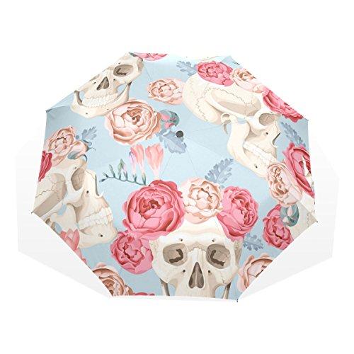 GUKENQ - Paraguas de Viaje Ligero con diseño de Calaveras y Rosas y Paraguas antirayos UV, para Hombres, Mujeres, niños, Resistente al Viento, Plegable, Paraguas Compacto