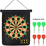 Toy Gallery Latest Roll-up Magnetic Dart Board Set 17 Inch Double Sided Hanging Wall Dartboard With 6 Safety Darts Needles