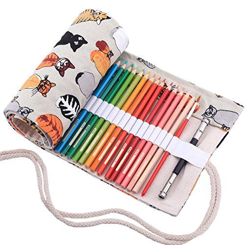 abaría Bolso para Lápices, Grande Estuche Enrollable para 72 lapices Colores, Portalápices de Lona, Bolsa Organizador Lápices para Infantil Adulto, Gato Beige 72 (No Incluyendo los Lápices)
