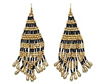 Fiorelli Costume E5050, Black and Gold Beaded Large Statement Earrings