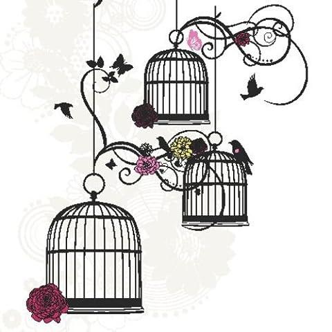 Twizler carte vierge pour elle avec cage à oiseaux–Happy Birthday