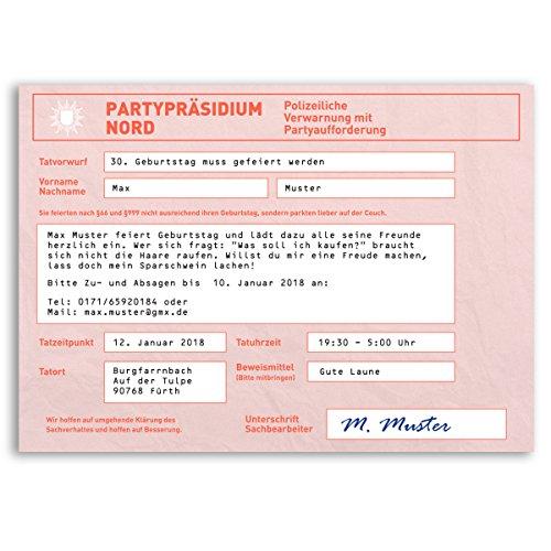 (10 x) Einladungskarten Geburtstag Strafzettel Auto Polizei Parken Einladungen