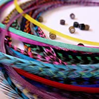 KAZAEE 20 Extensions plumes naturelles Mix couleurs XL 20-25 cm 100% naturel pour cheveux + anneaux fixation offerts