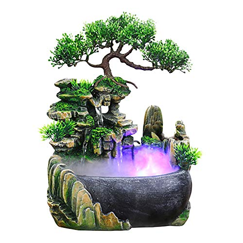 Jeffergarden Indoor & Outdoor Verwenden Wasserfall Desktop Tabletop Brunnen Dekoration Wasserspiel Mit Farbwechsel Led Beleuchtung Zen Meditation Wasserfall(EU 220V)
