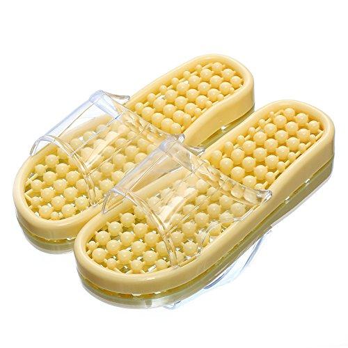 Massaggio maschio pantofole estate Camera Home Point piedi piedi scarpe giovane anti-slittamento Bagno Interno sandali donne Giallo