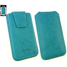 Emartbuy® Clásica Serie Azul Cuero PU de Lujo Funda Carcasa Case Tipo Bolsa ( Talla 4XL ) con Cierre Magnético y Mecanismo de Pestaña para Estirar adecuada para Huawei Ascend G7
