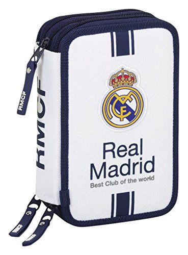 Real Madrid- Plumier Triple 41 Piezas, 1ª equipacion Temporada 2016/2017 (SAFTA 411654057), Color Blanco (