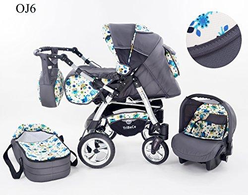 Kinderwagen Babywagen Kombikinderwagen Baby Merc Junior Twist 3 in 1 Komplettset mit Zubehör 0-3 Jahre 0-15 kg Insektenschutz Netz Regenschutz Getränkehalter Buggy Autositz (Grau)