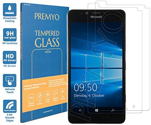 PREMYO 2 Stück Panzerglas Schutzglas Bildschirmschutzfolie Folie kompatibel für Microsoft Lumia 950 Blasenfrei HD-Klar 9H Gegen Kratzer Fingerabdrücke