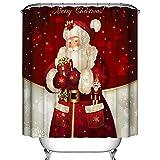 Weihnachts-Duschvorhang, Frohe Weihnachten Dreamlike Santa Claus Wasserdichter Polyester-Duschvorhang mit Haken für Weihnachtsdekoration