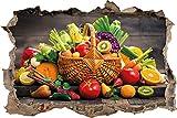 Frisches Obst und Gemüse im Korb Wanddurchbruch im 3D-Look, Wand- oder Türaufkleber Format: 92x62cm, Wandsticker, Wandtattoo, Wanddekoration