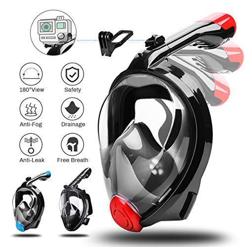 CAMTOA Tauchmaske, Easybreath Faltbare Schnorchelmaske, Anti-Fog Anti-Leak 180° Sichtfeld Dichtung, aus Silikon Vollmaske, Müheloses Vollgesichtsmaske für Gopro Kamera Erwachsene