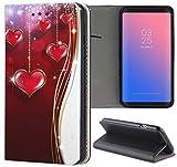 Samsung Galaxy J7 2017 J730 Hülle Premium Smart Einseitig Flipcover Hülle Galaxy J7 2017 Flip Case Handyhülle Samsung J7 2017 Motiv (1146 Herz Herzen Rot Weiß Gold)