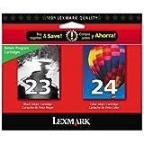 Lexmark 23, 24 Twin - Cartucho de tinta para impresoras (24 Twin, Negro, Cian, Magenta, Amarillo, Estándar, 20 - 80%, Lexmark X3530, X3550, X4530, X4550, Z1410, Z1420, ISO/IEC 24711, 5 - 35 °C)