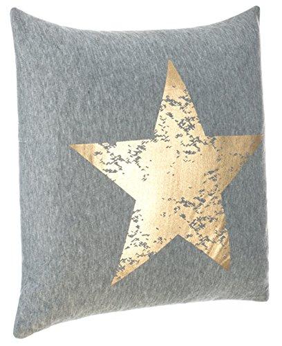 Cojín Couch Cojín Diseño Cojín Estrella Impresión - con Relleno agradable y suave - En Varios Colores, poliéster, gris/dorado, aprox.45x45 cm