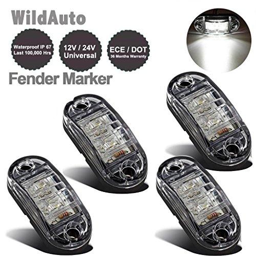 WildAuto - Remorque Feux De Côté, Led Feux De Dégagement - Pour Camion, Remorque - 2 Diodes - 12 V/24 V - Ovale - Clair - 2,5 Pouce - 4 Pcs