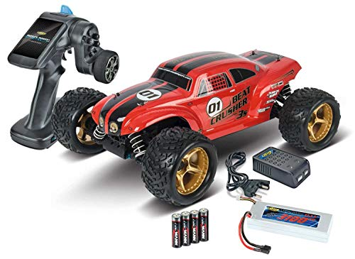 Carson 500409021 500409021-1:8 Beat Crusher 4WD 3S 2.4G 100{7d3364fa8861c217c9f093876543ee6bd7044fcc0af3bddb7ab89e2724ae98f5} RTR, Ferngesteuertes Auto, RC-Fahrzeug, inkl. Batterien und Fernsteuerung, 2,4 GHz, rot