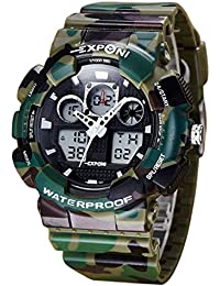 Panegy - Fashion Digital Montre Militaire Sport Motif Camouflage - Quartz Analogique - Montre-Bracelet Numérique Lumineuse Etanche 30M Multifonction Date Alarme Chrono - Vert Foncé