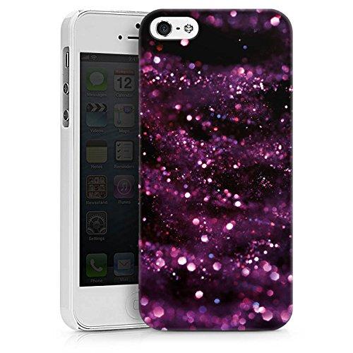 Apple iPhone X Silikon Hülle Case Schutzhülle Glitzer Muster Lila Hard Case weiß