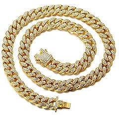 Idea Regalo - Halukakah ● Bling ● Uomo Placcato Oro Reale 18k Set di Diamanti Artificiali Grande Catena Cubana Collana 18