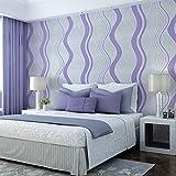 3D Wallpaper Moderne Einfache Wasser Welle Muster Wildleder Samt Tapete Geprägte Kurve Streifen vlies TV Wand Kaufen drei Get One Free ( Color : Purple )