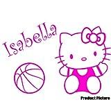Hello Kitty, Kugel mit Ihrem Wunsch-Namen - 60 cm x 40 cm, personalisierbar, Pink name, Kinderzimmer, Kinder, Kinderzimmer, Wandtattoo, Vinyl, Fenster und Auto-Aufkleber Wand Windows-Art ThatVinylPlace Wandtattoo,