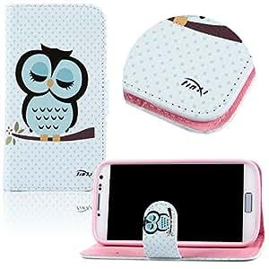 tinxi® Kunstleder Tasche für Samsung Galaxy S4 i9500 Flipcase Schutzhülle Standfunktion mit Karten Slot Eule Owl Muster