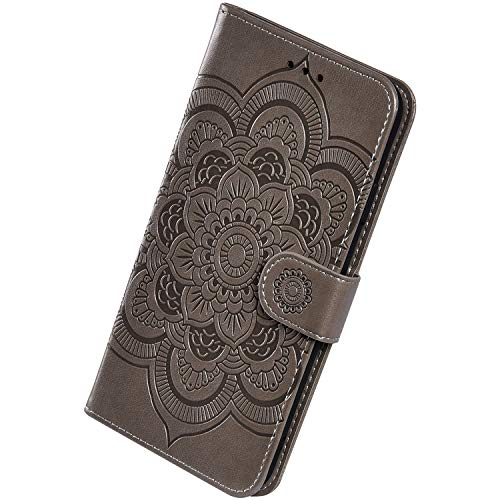 Herbests Kompatibel mit Huawei Mate 30 Pro Handyhülle mit Mandala Blumen Muster Motiv Hülle Leder Schutzhülle Flipcase Brieftasche Wallet Tasche Magnetverschluss Stoßfest Cover Case,Grau