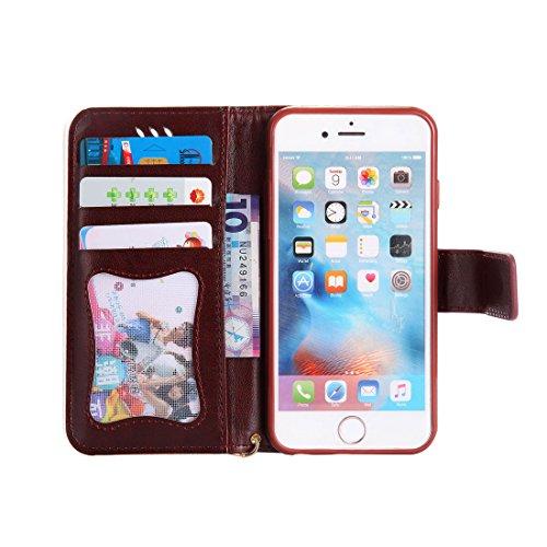 iPhone 6 Custodia ,[Luminoso Notte] [Portafoglio],Glow nel design creativo scuro Gatto e donna Design Pattern Cassa di piegatura di cuoio dellunità di elaborazione di alta qualità case For iPhone 6 Marrone