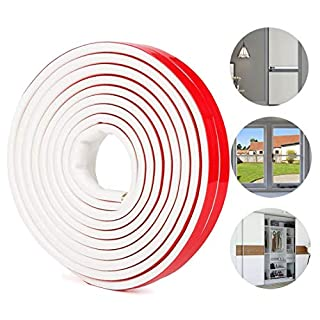 Rubber Seal Weather Strip Multi-Hole Design - Door Window Seal Strip Adhesive - Draught Excluder Tape Anti Collision Soundproof Waterproof Dustproof Windproof, 6M (D Type, White)