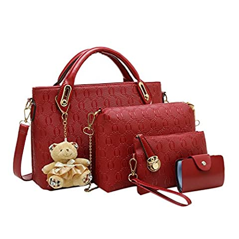 Azbro Women's 4 Pieces PU Leather Tote Cross Shoulder Purse Bag, Burgundy One Size