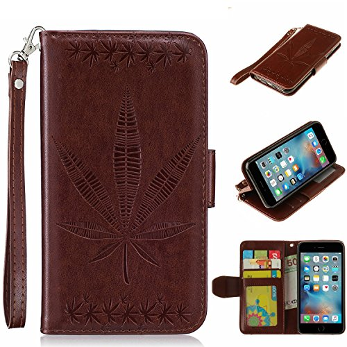 iPhone Case Cover IPhone 6 Case Cover, double face gaufrage Fleurs Haute Qualité Flip Stand PU étui en cuir avec Lanyard Wallet & Card Cash Slots pour IPhone 6 ( Color : Rose , Size : IPhone 6 ) Brown