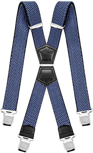 Decalen Hosenträger für Herren mit 4 Starken Clips X Form Lang Eine Größe Passt Alle Verschiedenen Farben (Hellblau)