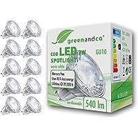 10 unidades de spots LED greenandco® GU10 7W (corresponde a 45-50W) 540lm 3000K (blanco cálido) COB LED 38° 230V AC