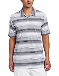 adidas Golf Mens Climalite Heathered Ombre Stripe Jersey Polo, White/Black/Chrome Heather, X-Large