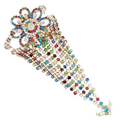 Sanjog Multicolor Heavy Ring Bracelet/Wedding Bangle/Hand Harness/Finger Ring Bracelet for Girls/Women