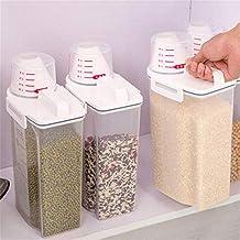 ... 2 kg, sellada, a prueba de insectos, a prueba de humedad, con caja de almacenamiento para cereales y cereales, de plástico, portátil, dispensador ...