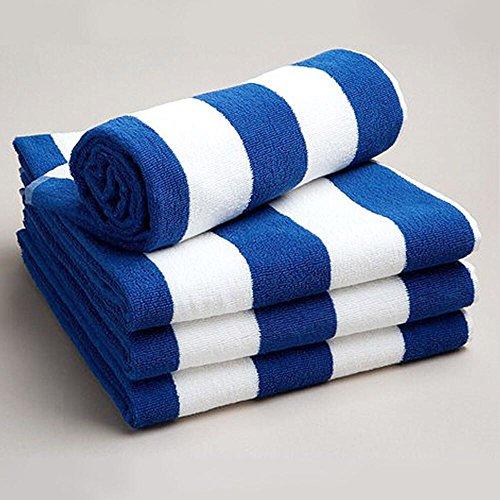 Serviette de plage/de piscine Sunshine Comforts résistante au chlore (rayures bleues et blanches) - Lots de 1, 2, 3 ou 4 articles, 100 % coton, Blue & White Stripes, Lot de 2