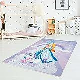myshop24h Kinder-Teppich Waschbar Waschmaschine Teppich Druckteppich Flachflor Dünn Polyester Kinderzimmer 130x200 cm, Muster:Einhorn
