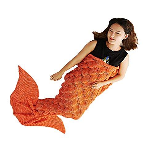 Coperta fatta a maglia a coda di sirena, per tutte le stagioni, outfit da sirenetta, morbido sacco a pelo per soggiorno, per adulti 180 x 80cm orange