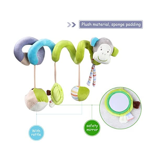 YEAHIBABY Stroller Toy Spiral Toy Bed Hanging Toys Baby Car Seat Toy Plush Crinkle Toys Educational Toy 3Pcs