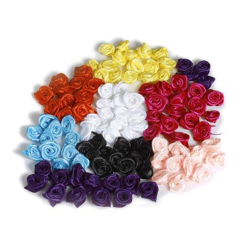 Preisvergleich Produktbild Bluelover 50 Stück 15Mm Satinband Blume Rose - Rosa