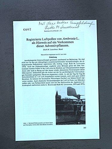 Registrierte Luftppllen von Ambrosia L. als Hinweis auf ein Vorkommen dieser Adventivpflanzen. Sonderdruck aus; Bauhinia 6/2 (1978) 265-271,