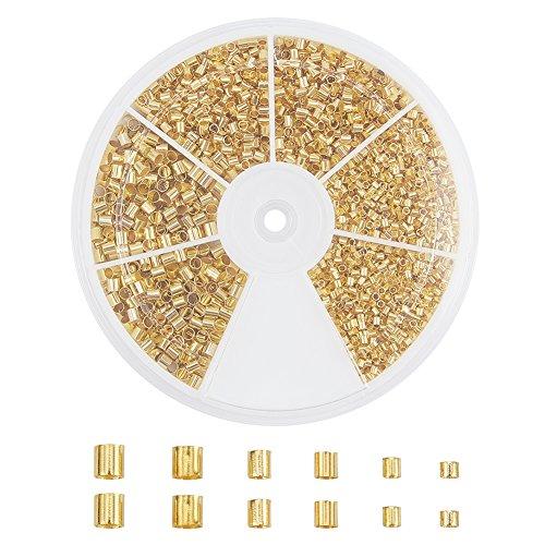 pandahall Elite 1-2 mm Gold Quetschperlen Crimp Beads