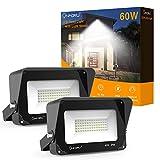 Onforu 2er Pack 60W LED Strahler mit Lichtschild 6000LM | Superhell LED Außenstrahler Fluter Flutlicht 5000K Tageslichtweiß | IP65 Wasserfest | Ideale Außenbeleuchtung für Garten, Garage, Hotel ect.
