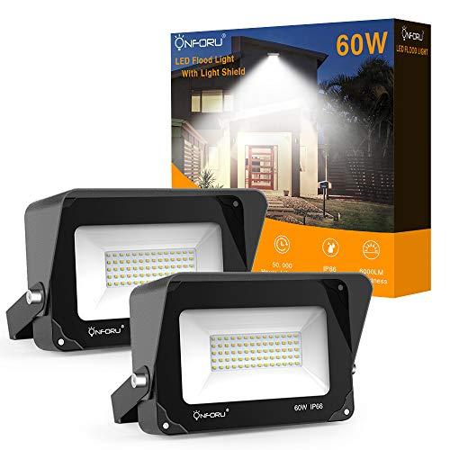 Onforu 2er Pack 60W LED Strahler mit Lichtschild 6000LM | Superhell LED Außenstrahler Fluter Flutlicht 5000K Tageslichtweiß | IP66 Wasserfest | Ideale Außenbeleuchtung für Garten, Garage, Hotel ect. -