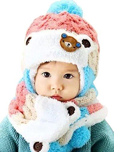 lazutom mignon pour bébé Unisexe hiver chaud Bonnet écharpe acrylique épais Bouchons pour cadeau de Noël Rose