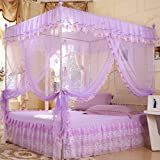 KAMIERFA Romance Full in House 4 Corner Post Bed Canopy Mosquito Net £¨with Frames£© XS Purple