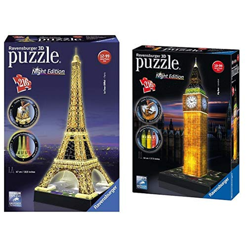 51qmvhJk0IL - Ravensburger 125791 - Eiffelturm bei Nacht Puzzle 3D-Puzzle Bauwerk Night Edition, 216 Teile